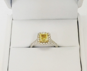 1.03 ct Cushion Cut Fancy Yellow Internally Flawless Diamond Ring – Sold
