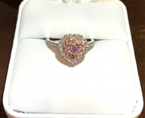 0.26 ct Heart Brilliant Fancy Intense Purplish Pink Diamond Ring
