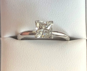 0.9 ct Princess Cut VS2 H Color Diamond Engagement Ring – Sold