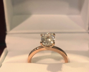 1.00 CT OVAL BRILLIANT CUT SI2 H COLOR DIAMOND RING – SOLD