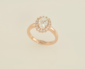1.23CT OVAL BRILLIANT ROSE GOLD SETTING F COLOR DIAMOND RING – SOLD