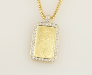 CUSTOM MADE 1OZ GOLD BAR PENDANT 11 CT ROUND BRILLIANT VVS1 DIAMOND W/ 18 KT FRANCO LINK CHAIN