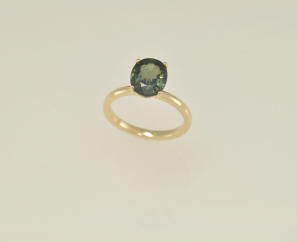 2.9 CT IDEAL CUT OVAL EMERALD GREEN COLOR SAPPHIRE 14K YELLOW GOLD LADIES RING